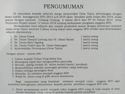 Pengumuman Pengisian Anggota BPD Periode 2019-2025